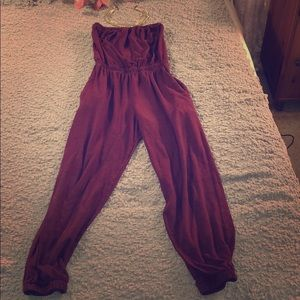 Burgundy Strapless Jumpsuit size small # A56